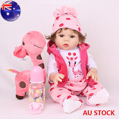 "18"" Reborn Baby Doll Full Soft Body Silicone Vinyl Anatomically Gifts Girl Dolls"