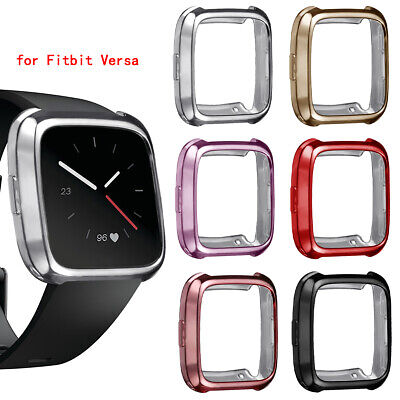 for Fitbit Versa Silicone Thin TPU Shell Case Screen Protector Frame Cover