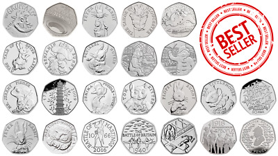 Rare 50p british coins in great condition. including peter rabbit and kew garden