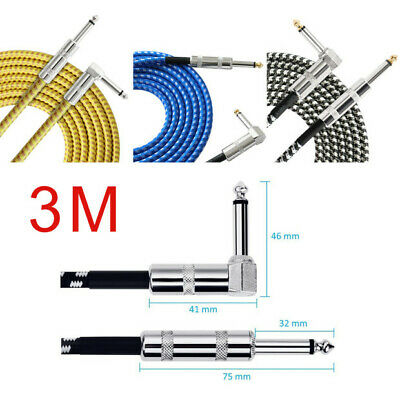 Electric / Bass / Instrument Guitar Lead 3m Meter 6.35mm Cable Jack Right Angle