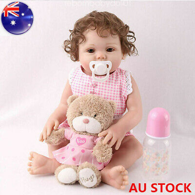 "Reborn Baby Girl Dolls 16"" Full Body Silicone Vinyl Handmade Xmas Gifts Doll Toy"