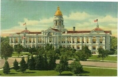 State Capitol Building Cheyenne Wyoming WY Cowboy State Vintage Linen Postcard
