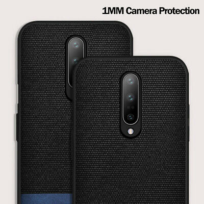 MOFi For OnePlus 7 Pro 1+7 PU Leather Canvas Splice Fabric Soft Case Back Cover