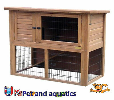 """Lazy Bones Rabbit Hutch With Run 41"""" With Optional Cover (LB-303)"""