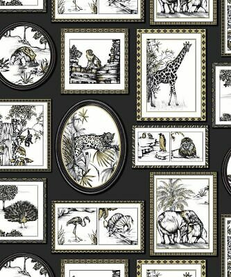 Holden Decor - Safari Animals Exotic Lion Frames Wallpaper - Black / Gold 90071