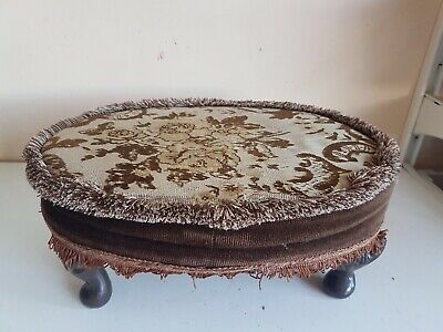 Oval Footstool Foot Rest Brown Floral Fabric Wooden Frame Legs Furniture Home De