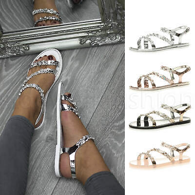 Womens ladies flat diamante trim sparkly cross T-bar strappy jelly sandals size