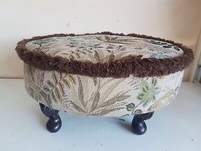Oval Footstool Foot Rest Brown Green Floral Fabric Furniture Home Decor