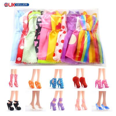 10pcs Shoes+10pcs Dolls Dresses Clothes Skirt For Barbie Doll Cute Toys Gift