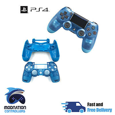 Playstation 4 PS4 V2 JDM-040 Controller Full Housing Shell Mod Kit - Clear Blue