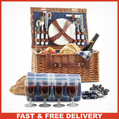 Complete Picnic Basket Wicker Hamper Set for 4 People + Plates Blanket & Cutlery
