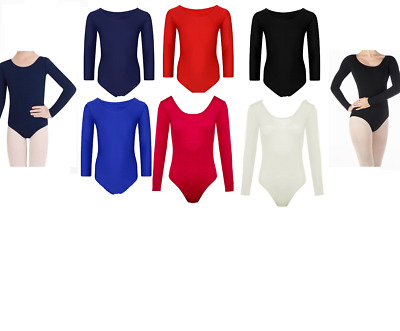 Girls Kids Long Sleeve Sports Dance Ballet Gymnastics Bodysuit Leotard (UK Made)