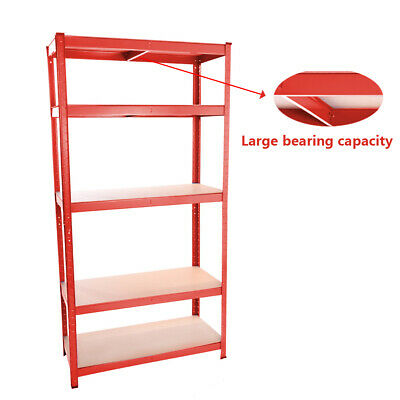 Heavy Duty Boltless Metal Shelves 5 Tiers Rack Shelving Garage Storage Unit Red