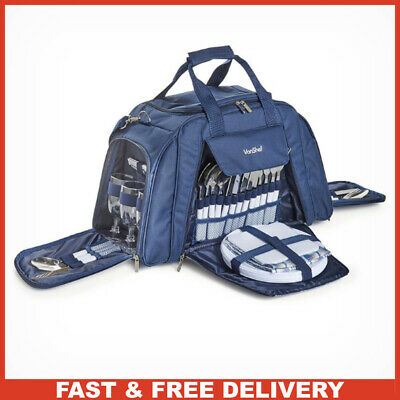 Large Picnic Holdall Cooler Bag for 6 People with Cutlery Plates & Wine Glasses