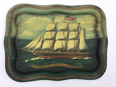 Nancy Whorf Provincetown Ma. Artist Oil Painting On Tray Ship Ethel