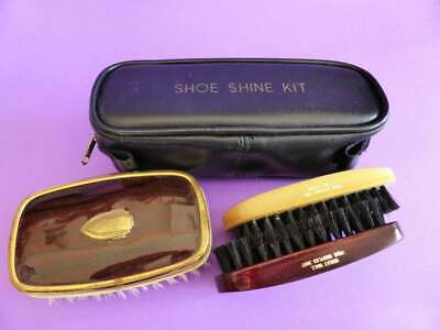 Vintage Brush Collection Hindes Clothes Brush + Timber Shoe Brushes & Polish Bag