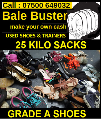 Used Grade A Shoes, Trainers, Mixed Sacks 25 Kilo - Best Seller