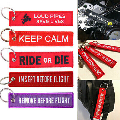 Red Embroidery Key Chain Tag Buckles for Motorcycle Luggage Car Key Fobs Ring