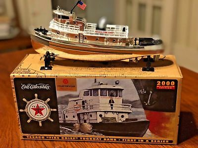 2000 Texaco Fire Chief Tugboat Bank  Special Chrome Edition  1St In Series Nos