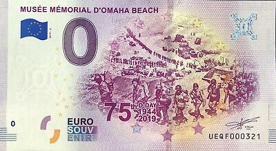 Billet 0 Euro Musee D'omaha Beach  France 2019-2 Numero Divers