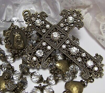 Antique Style Handmade Bronze Rosary-Clear Glass-Huge Crystal Statement Cross