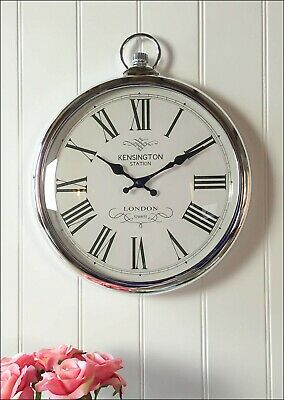 Vintage Antique Round Silver Pocket Watch Wall Clock Roman Numeral Living Room