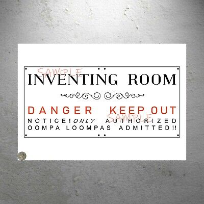 """ONE large Willy Wonka Inventing Room """"Danger Keep Out"""" Replica Poster  8.5 x 19"""