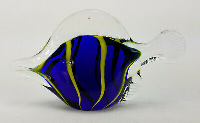 Vintage Hand Blown Art Glass Tropical Angel Fish Stripes Paperweight