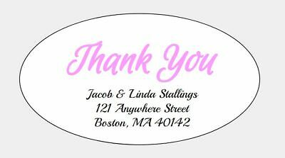 THANK YOU Personalized Oval Shaped Return Address Labels 42 Count FREE S/H