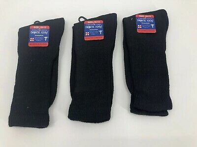New Diabetic Crew Socks Circulatory Health Cotton Loose Fit Top 3 Pairs  Black