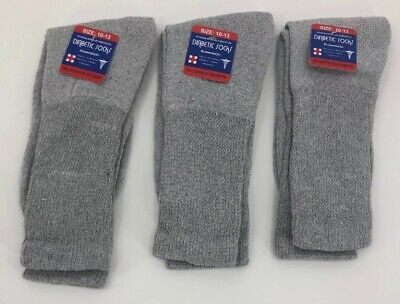 New Diabetic Crew Socks Circulatory Health Cotton Loose Fit Top 3 Pairs Gray
