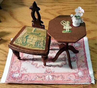 Antique Bliss Doll Furniture paper litho Chair & Octagonal Table 1880s Set 3pc