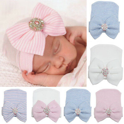 Newborn Baby Infant Girl Striped Comfy Bowknot Diomand Hospital Cap Beanie Hat