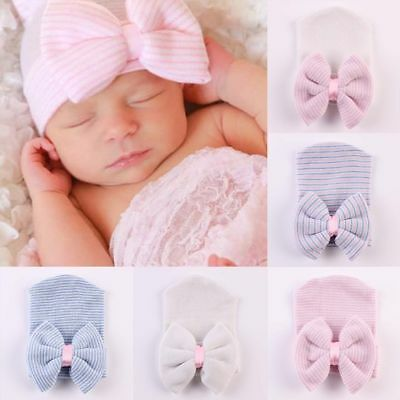 Baby Girl Infant Child Striped Soft Hat With Bow Cap Hospital Newborn Beanie Hat