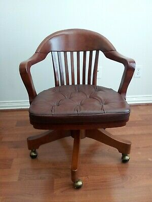 Antique Swivel Bankers Chair Vintage Lawyer Doctor Oak Office