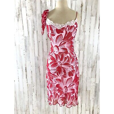 Betsey Johnson NY Red Floral Silk Vintage Dress NWT $234 Size 4