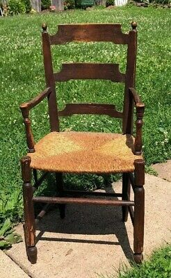 Vtg Rare! Antique Chair Hand Turned Carved Child Junior Twine Woven Seat Dowels