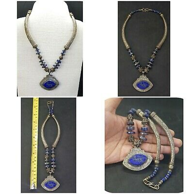 Wonderful Silver Plated Unique Necklace With Intaligo Deer Lapis Lazuli Stone #L