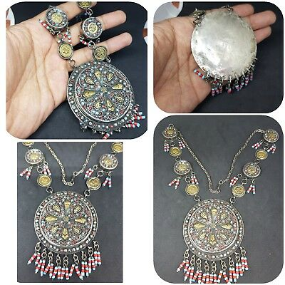 Huge Turkam Design Sold Silver Beautiful Necklace With Turquoise And Coral Stone