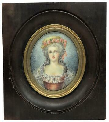 Antique French Noble Lady Signed Miniature Portrait Painting Princess Pignatelli