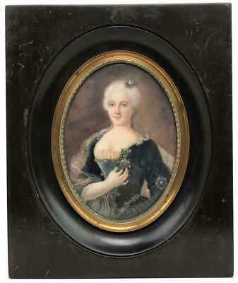 Antique French Court Lady Signed Miniature Portrait Painting Princess Pignatelli