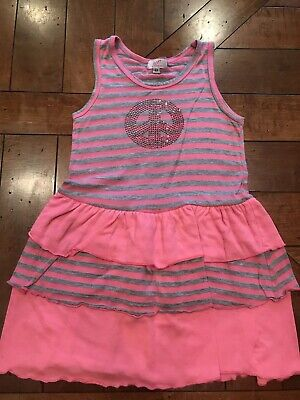 Sofi Little Girls Dress Pink And Grey Stripe With Peace Sign On Chest Size 6X