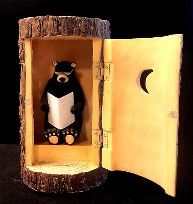 """Vintage Decor """"Bear Occupying The Outhouse"""""""