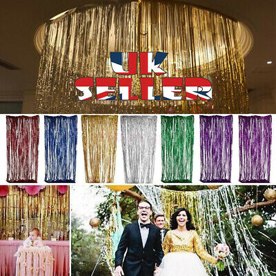Party Decoration 2M-3M LASER Foil Fringe Tinsel Shimmer Curtain Wedding Birthday