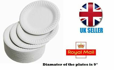 Disposable White Plates Round Paper Dinner Party Luncheon Wedding 9 Inch