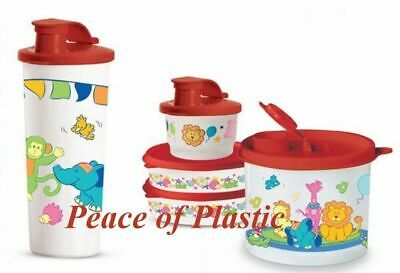 TUPPERWARE New Toddlers Feeding Set Circus Animals Tumbler Snack Bowls Red Seals