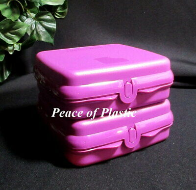 New Purple Tupperware Sandwich Keepers Set 2 lunch bagels wraps hinge save