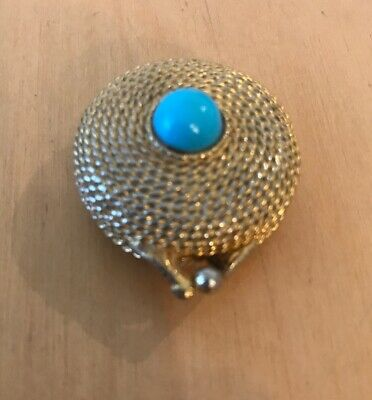 Vintage Estee Lauder Pill Box/Perfume Compact Gold Tone Faux Turquoise