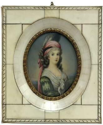 Antique Austrian Duchess of Teschen Miniature Portrait Hand Painting -Bone Frame