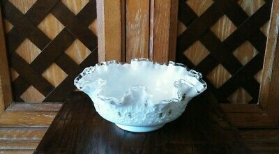 Antique Fenton Hand Painted Milk Glass Bowl Floral Signed Janet. S Ruffle 9.5""